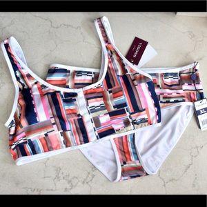 Vigoss   Lined Mesh Retro Print Bikini Swimsuit